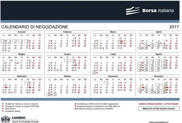 Calendario Negoziazione Borsa Italiana 2017