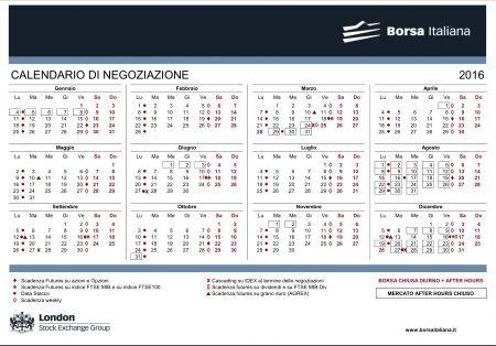 Calendario Di Borsa.Calendario Borsa 2017 E Conomy