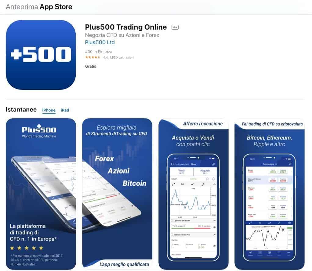 Plus500 Applicazione iOS