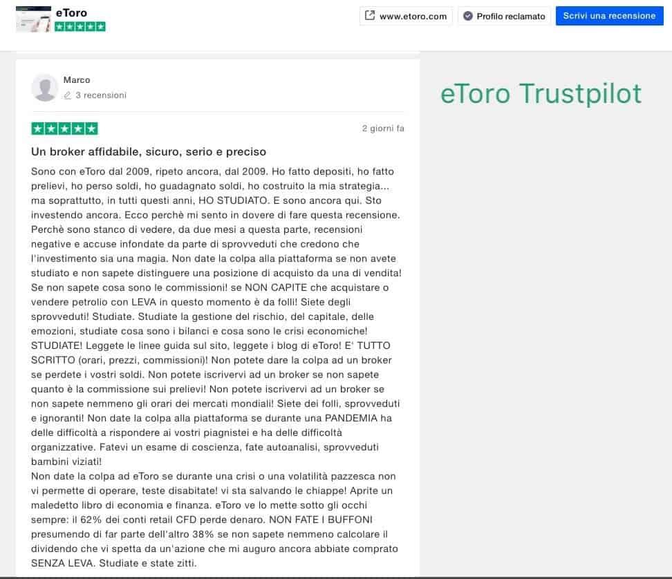 eToro Trustpilot Recensioni e Opinioni