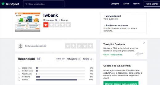 IW Bank Opinioni e Recensioni TrustPilot