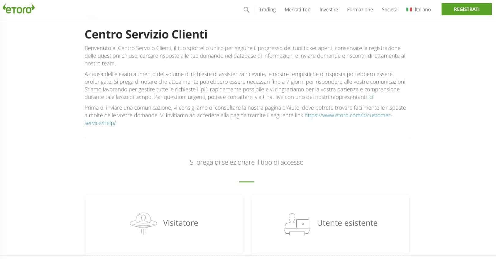 eToro Servizio Clienti