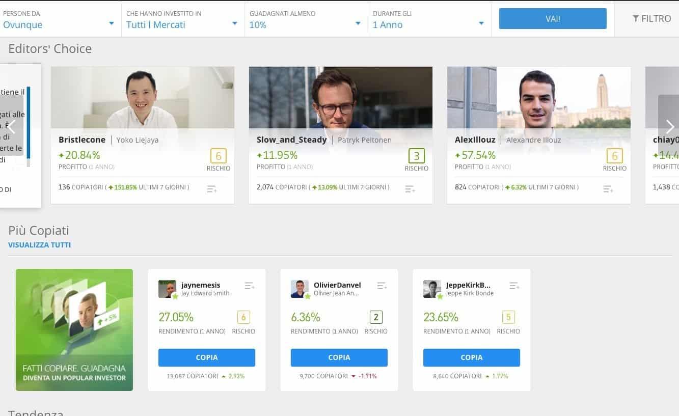 Migliori Popular Investor eToro