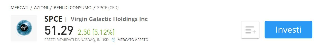 Comprare azioni Virgin Galactic CFD eToro