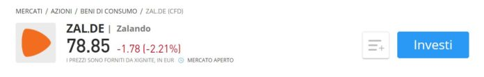 Comprare azioni Zalando CFD eToro